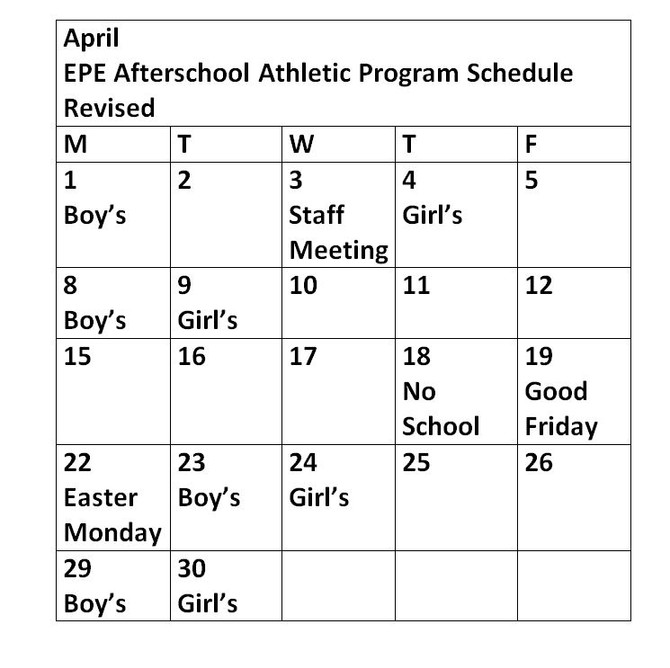 Revised After School Athletics Schedule