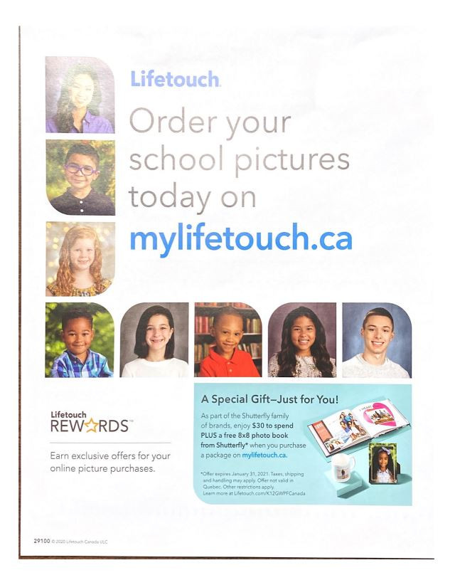 Lifetouch orders due Friday, October 16th