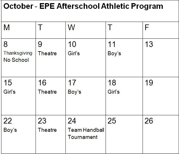 After School Athletic Schedule for October - 3:30 p.m. - 5 p.m.