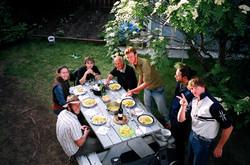 BBQ in backyard