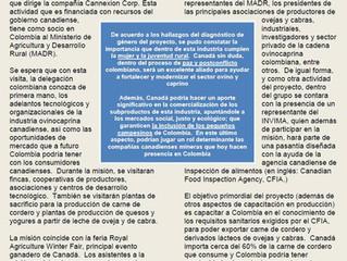 PRODUCTORES COLOMBIANOS DE OVEJAS Y CABRAS VISITARAN CANADA EN BUSQUEDA DE TECNOLOGIA Y POSIBLES MER