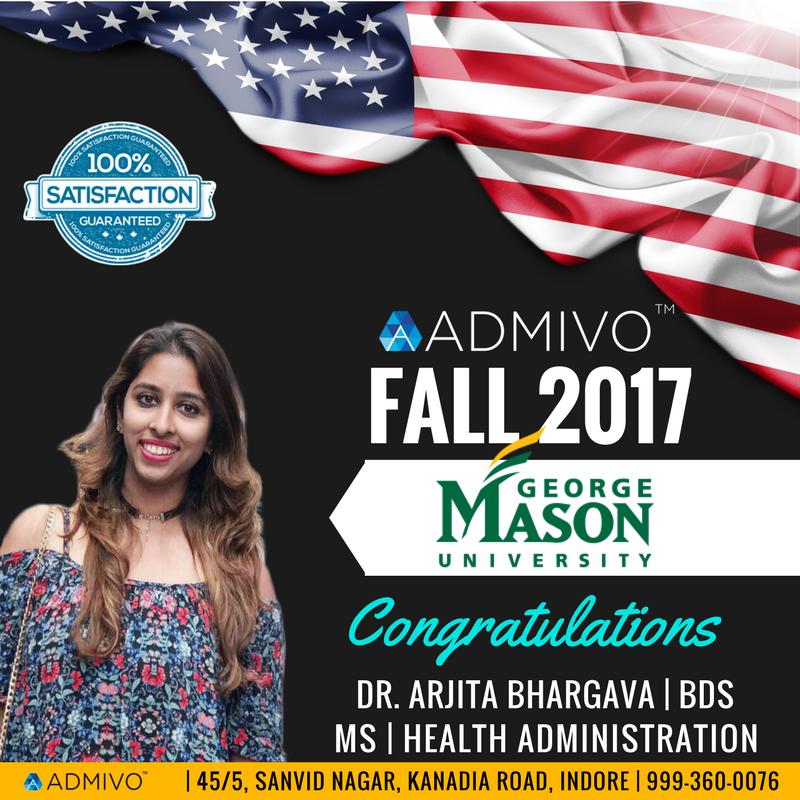 Arjita got admit from George Mason for MS in MHA