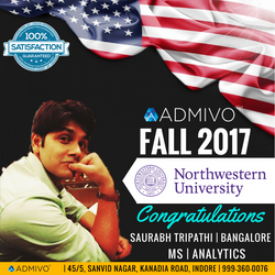 Saurabh Tripathi got admit from MS in Data Science from Northwestern University.