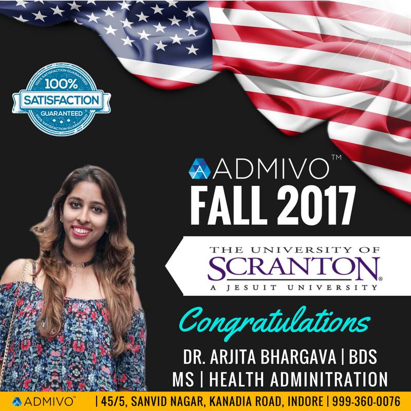 Arjita got admit from University of Scranton for MS in MHA
