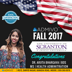 Arjita got admit from University of Scranton for MS in MHA