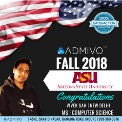 Vivek got admit from Arizona State University for MS in Computer Science