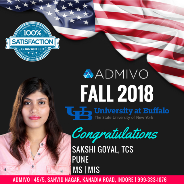 Sakshi Goyal got admit from SUNY BUFFALO for MS in MIS