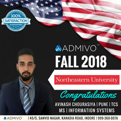Avinash got admit from Northeastern University for MS in Information system