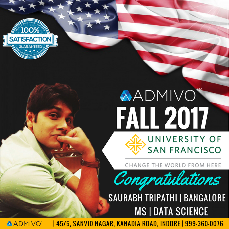 Saurabh Tripathi got admit from University of San Francisco for Masters in Analytics