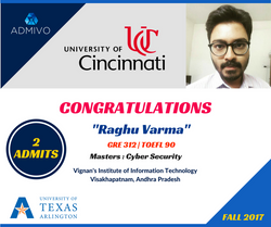 Raghu varma got admits from University of Cincinnati for MS in Cyber Security