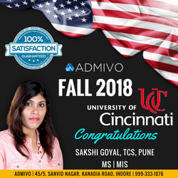 Sakshi Goyal got admit from University of Cincinnati for MS in MIS