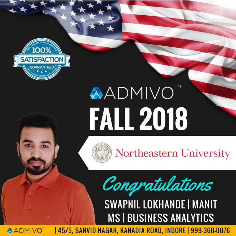 Swapnil got admit from Northeastern University for Masters in Business Analytics