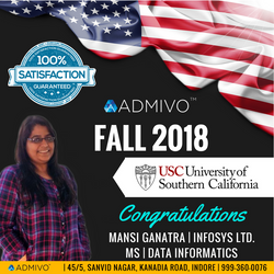Mansi Got admit from University of Southern California for MS in Data Informatics