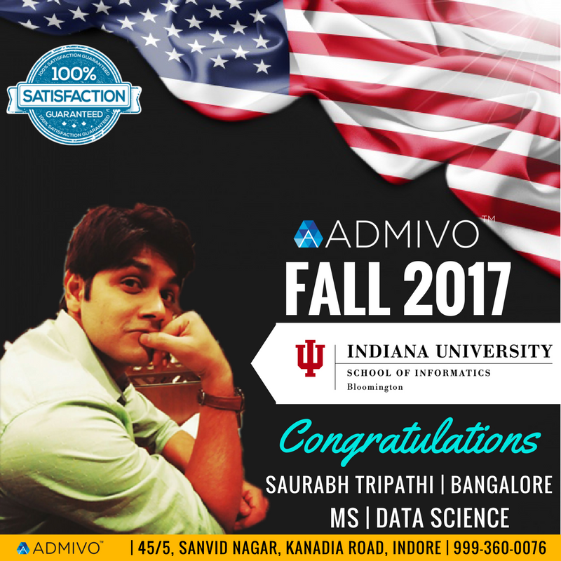 Saurabh got admit from Indiana University for Masters in Data SCience
