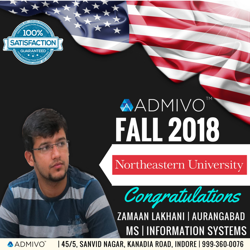 Zamaan Lakhani got admit from Arizona State University for Masters in Information Systems