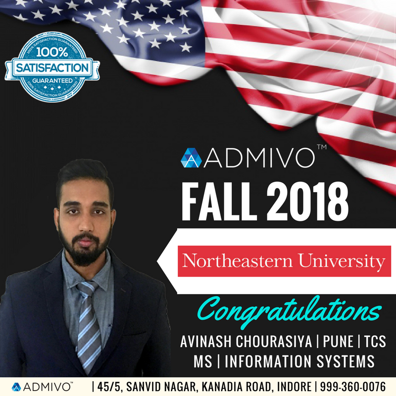 Avinash got admit from North Eastern University for Masters in Information Systems