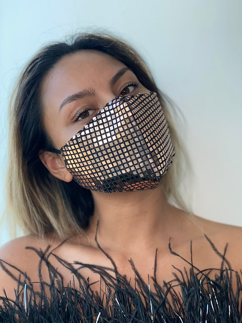 Rose-Gold Sequin Plated Mask