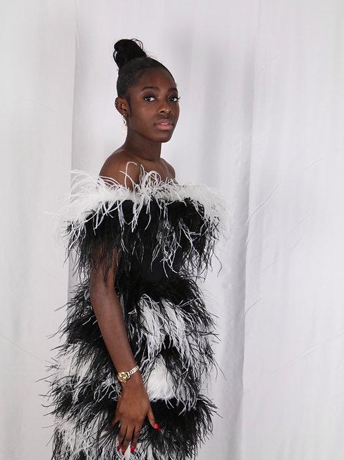 'Zsa Zsa' Monochome Feather Mini-Dress
