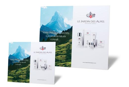 Cosmétique gamme Le Jardin des Alpes PLV