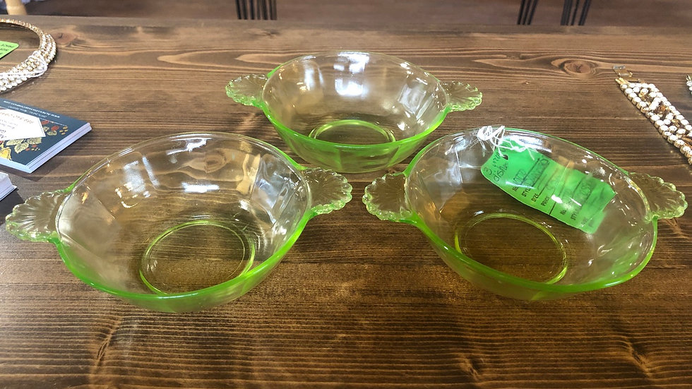 1920s/30s uranium dishes - set of 3