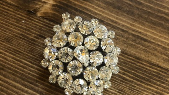 Large Rhinestone Brooch - missing one stone on the very end