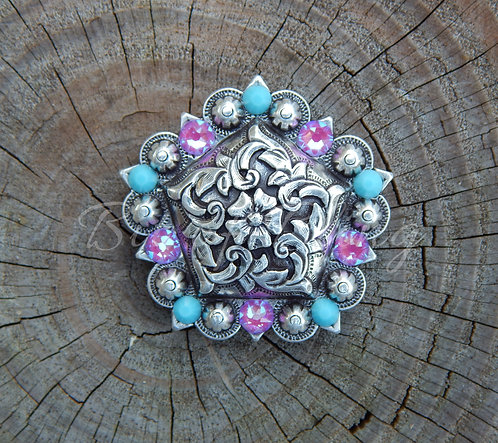 Antique Silver Floral Pentagon Berry Concho - Turquoise & Electric Violet Delite