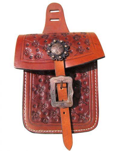 Floral Tooled Leather Saddle Pocket