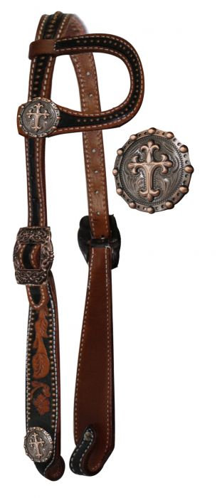 Vintage Style Celtic Cross Concho One Ear Leather Headstall