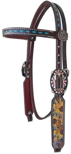 Sunflower Browband Leather Headstall