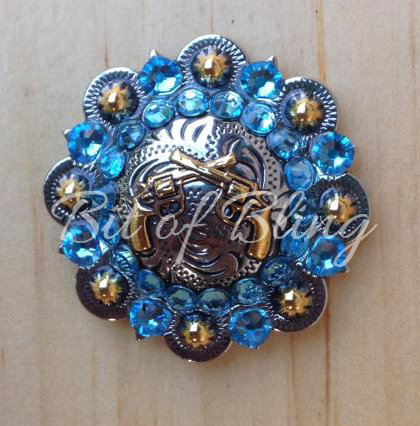 Silver & Gold Round Berry Crossed Pistols Concho - Aqua