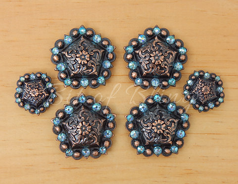 Copper Floral Pentagon Berry Saddle Set - Aquamarine AB