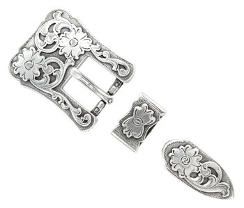 Antique Silver 3pc Western Buckle