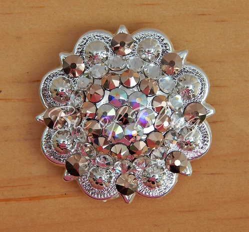 Shiny Silver Round Berry Concho - Crystal, Rose Gold, Crystal AB