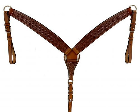 Basket Tooled Leather Breast Collar