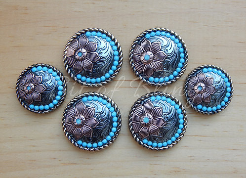 Floral Round Rope Edge Turquoise Saddle Set