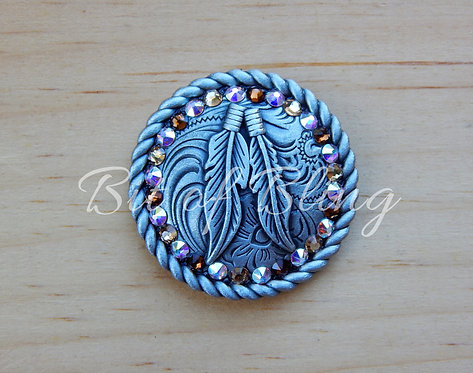 Antique Silver Round Rope Edge Feathers Concho - C AB, Lt Colo Topaz, Sm Topaz