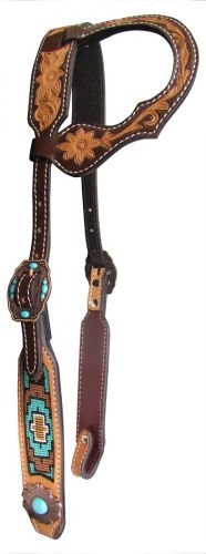 Floral Tooled One Ear Leather Headstall w/ Turquoise Stone Flower Conchos