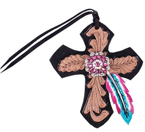 Pink & Turquoise Feather Saddle Cross