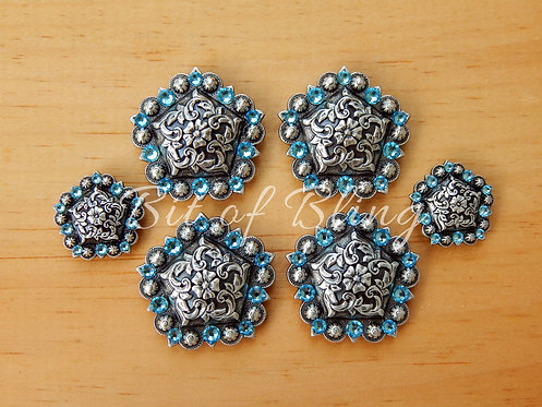 Antique Silver Floral Pentagon Berry Saddle Set - Aquamarine