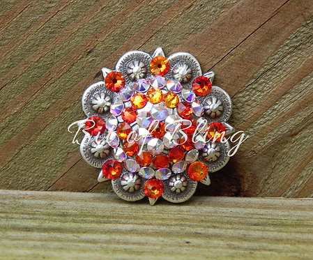 Antique Silver Round Berry Concho - Fire Opal & Crystal AB