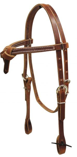 Futurity Knot Harness Leather Browband Headstall w/ Ties