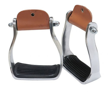 Polished Aluminum Stirrups w/ Rubber Tread