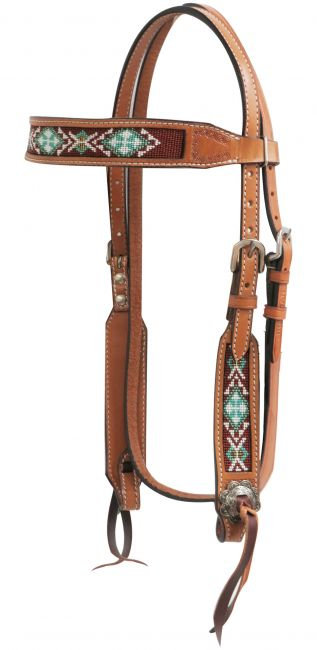 Beaded Leather Headstall #13740