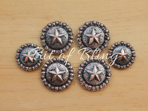 Copper Round Berry Star Saddle Concho Set - Rose Gold