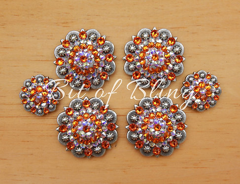 Antique Silver Round Berry Saddle Set - Tangerine & Crystal AB
