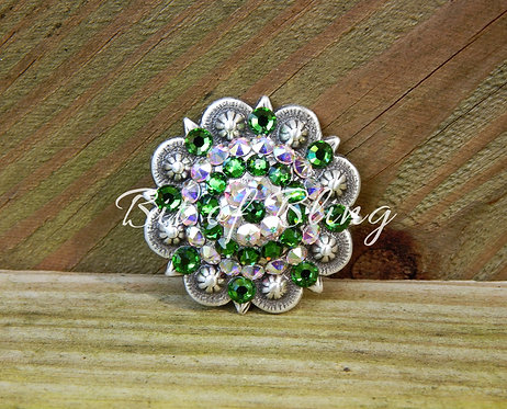 Antique Silver Round Berry Concho - Fern Green & Crystal AB
