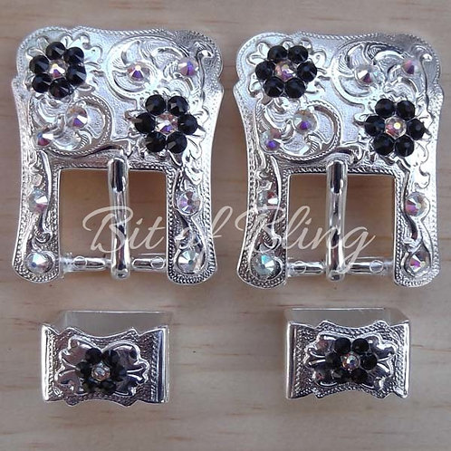 Shiny Silver 2pc Western Buckle (Pair) - Jet & Crystal AB