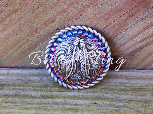 Antique Silver Round Rope Edge Feathers Concho - Blue Volcano