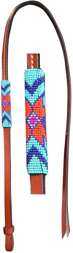 Beaded Leather Over & Under Whip, Teal/Purple/Orange