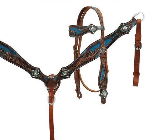 Floral Tooled Tack Set with Blue Inlay